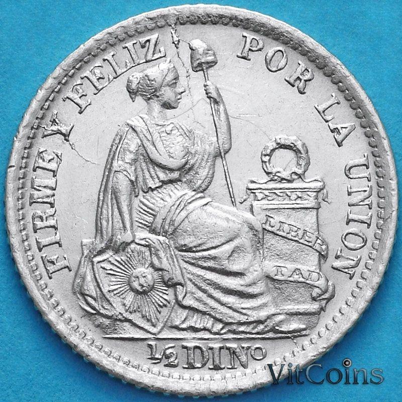 Монета Перу 1/2 динеро 1902 год. Серебро.