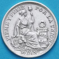 Перу 1/2 динеро 1907 год. Серебро.