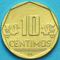 Перу 10 сентимо 2019 год.