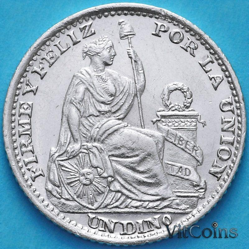 Монета Перу 1 динеро 1893 год. Серебро.