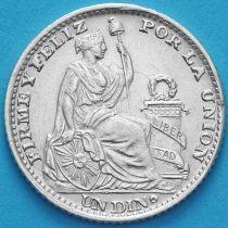 Перу 1 динеро 1900 год. Серебро.