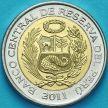 Монета Перу 2 новых соля 2011 год.