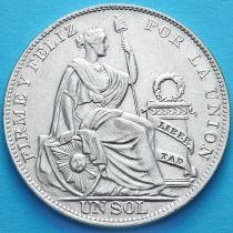 Перу 1 соль 1934 год. Сидящая со щитом Статуя Свободы. Серебро.