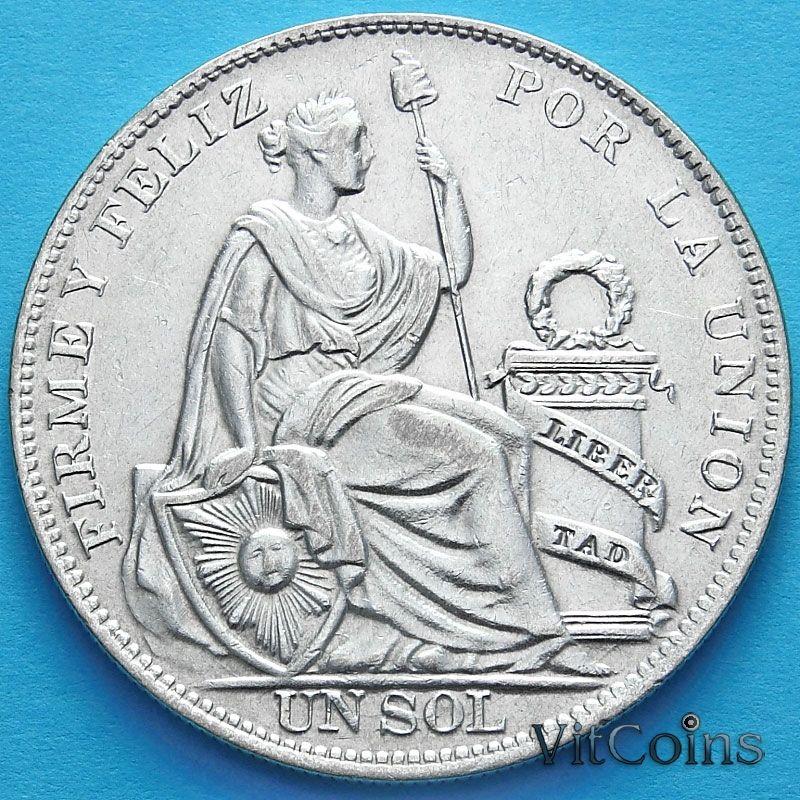 Монета Перу 1 соль 1934 год. Сидящая со щитом Статуя Свободы. Серебро.