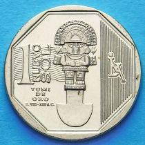 Перу 1 соль 2010 год. Золотой туми.