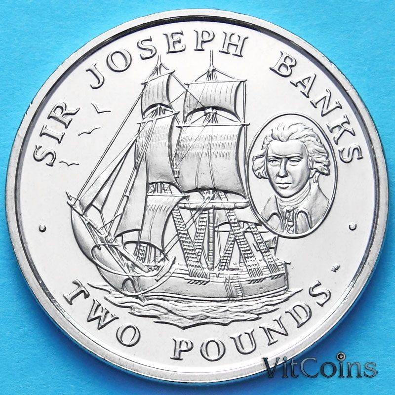 Монета Южной Георгии и Южных Сэндвичевых Островов 2 фунта 2001 г. Джозеф Банкс