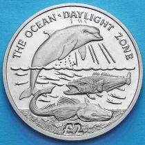 Южная Георгия и Южные Сэндвичевы острова 2 фунта 2016 год. Зона дневного света океана.