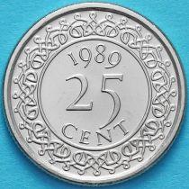 Суринам 25 центов 1989 год.