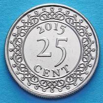 Суринам 25 центов 2015 год.