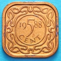Суринам 5 центов 1988 год.