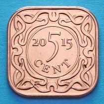 Суринам 5 центов 2015 год.