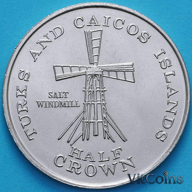 Монета Тёркс и Кайкос 1/2 кроны 1981 год. Мельница.