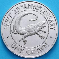 Тёркс и Кайкос 1 кроны 1988 год. 25 лет Фонду дикой природы.