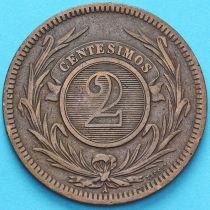 Уругвай 2 сентесимо 1869 год.