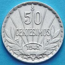 Уругвай 50 сентесимо 1943 год. Серебро.
