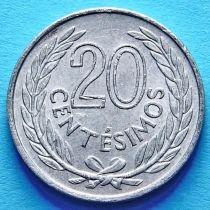 Уругвай 20 сентесимо 1965 год.