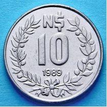 Уругвай 10 новых песо 1989 год.
