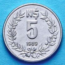 Уругвай 5 новых песо 1989 год.