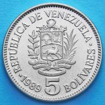 Венесуэла 5 боливар 1989-1990 год. UNC.