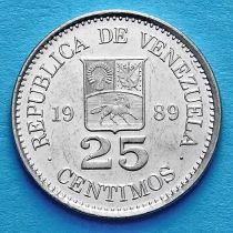 Венесуэла 25 сентимо 1987-1990 год.