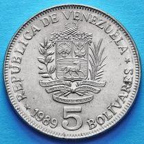 Венесуэла 5 боливар 1989 год.