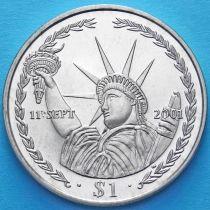 Британские Виргинские острова 1 доллар 2002 год. 11 сентября 2001.