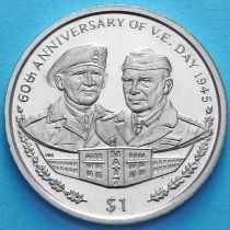 Британские Виргинские острова 1 доллар 2005 год. Монтгомери и Эйзенхауэр.