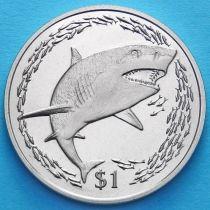 Британские Виргинские острова 1 доллар 2016 год. Лимонная акула.