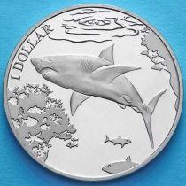 Британские Виргинские острова 1 доллар 2016 год. Белая акула.