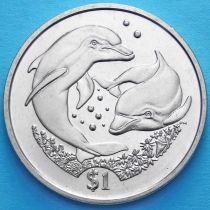 Британские Виргинские острова 1 доллар 2006 год. Дельфины