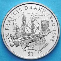 Британские Виргинские острова 1 доллар 2004 год. Сэр Фрэнсис Дрейк.