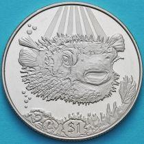 Британские Виргинские острова 1 доллар 2019 год. Рыба дикобраз.