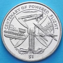 Британские Виргинские острова 1 доллар 2003 год. 100 лет первому управляемому полету.