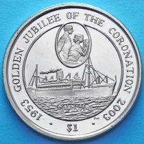 """Британские Виргинские острова 1 доллар 2003 год. Корабль """"Готика"""""""