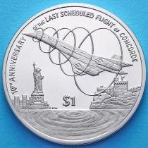 Британские Виргинские острова 1 доллар 2013 год. Последний полет Конкорда