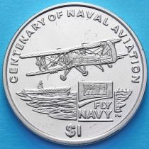 Британские Виргинские острова 1 доллар 2009 год. 100 лет морской авиации