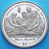 Британские Виргинские острова 1 доллар 2005 год. Смерть Адмирала Нельсона.