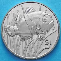 Британские Виргинские острова 1 доллар 2018 год. Рыба-клоун.