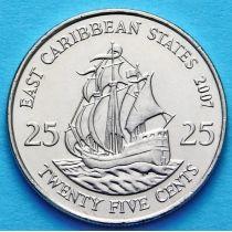 Восточные Карибы 25 центов 2007 год