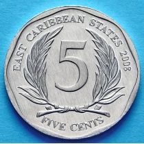 Восточные Карибы 5 центов 2008 год