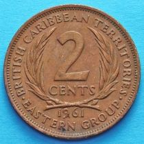 Британские Карибские Территории 2 цента 1955-1965 год. Из обращения.