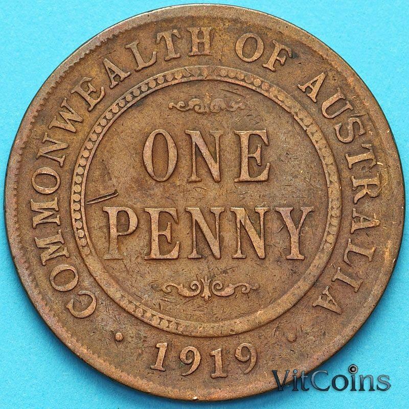 Монета Австралия 1 пенни 1919 год. №1
