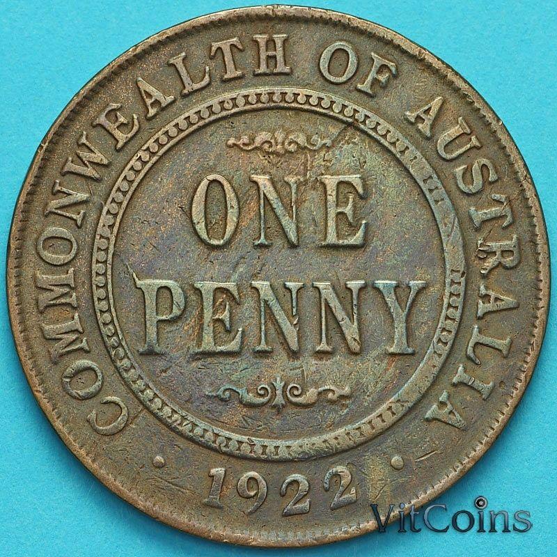 Монета Австралия 1 пенни 1922 год.