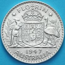 Австралия 1 флорин 1947 год. Серебро.