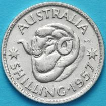Австралия 1 шиллинг 1957 год. Елизавета II Серебро.