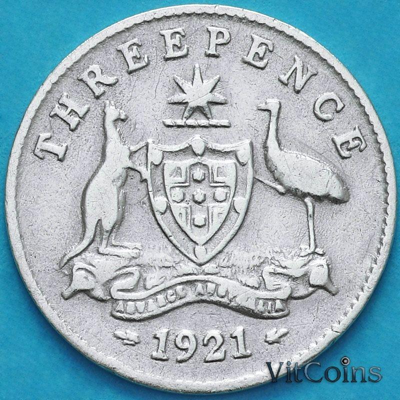 Монета Австралия 3 пенса 1921 год. Серебро.