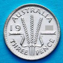 Австралия 3 пенса 1949 год. Георг VI Серебро.