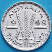 Австралия 3 пенса 1948 год. Георг VI Серебро.