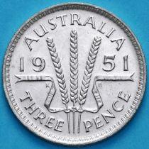 Австралия 3 пенса 1951 год. Георг VI Серебро.
