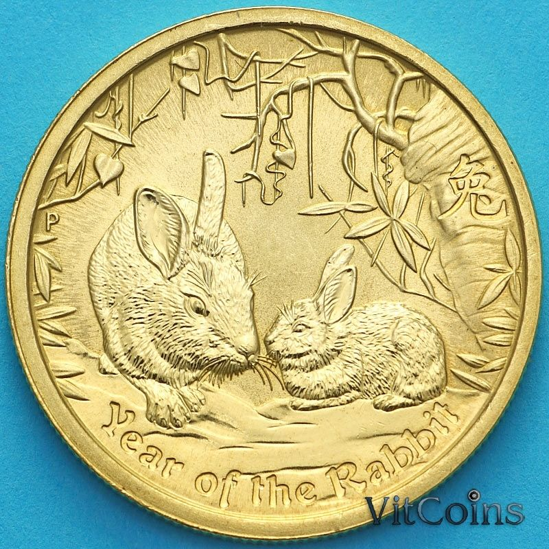 Монета Австралия 1 доллар 2011 год. Год кролика.